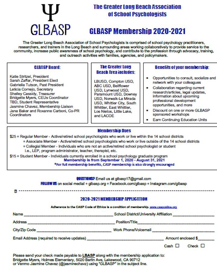 GLBASP 2020-2021 Membership Dues image