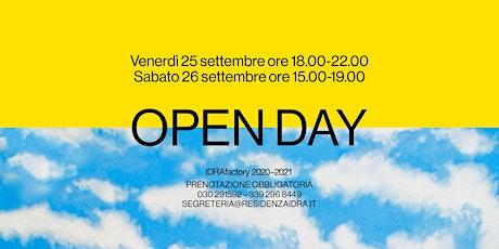 OPEN DAY IDRAfactory 2020-2021 biglietti