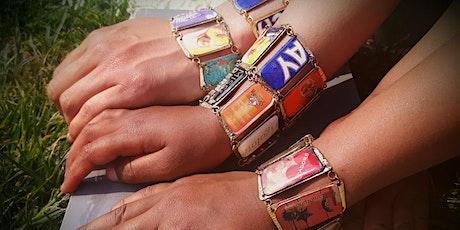 Résine : Bracelet avec du carton de récup' billets