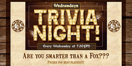 Every Wednesday - Trivia Night tickets