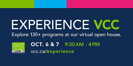 Experience VCC Fall Virtual Open House tickets