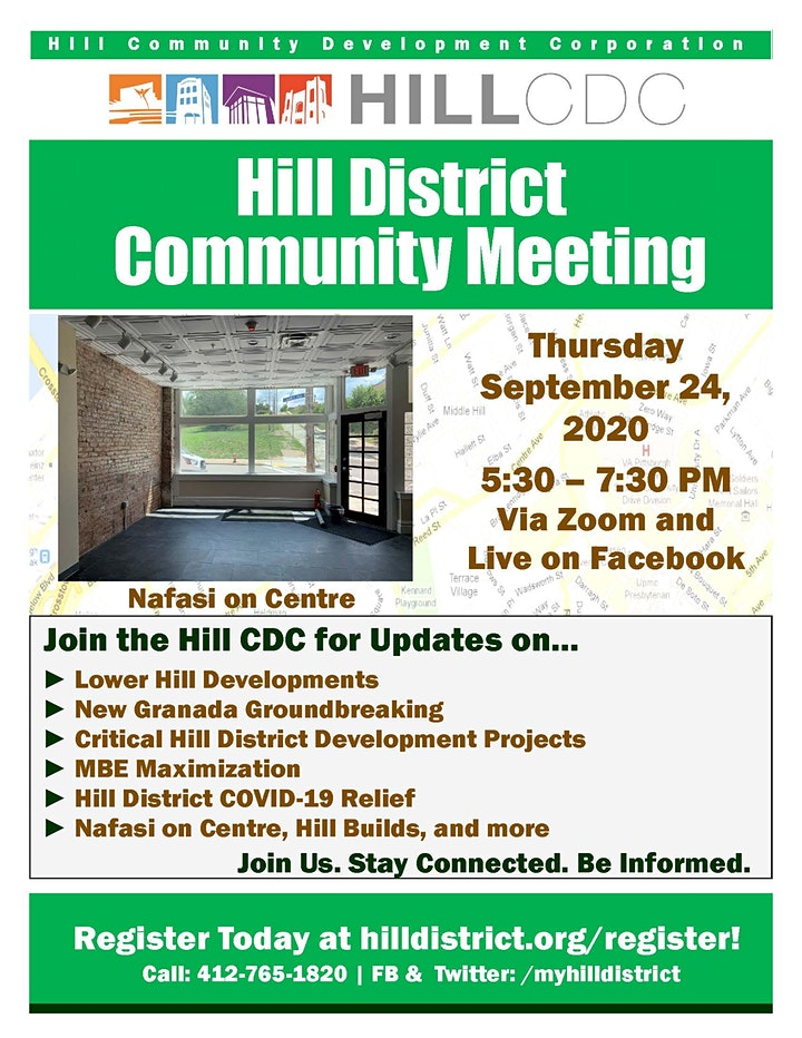 Hill District Virtual Community Meeting - September 24, 2020 image