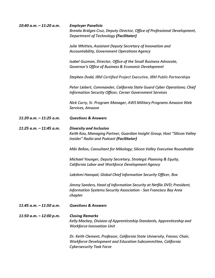 California Cybersecurity Industry Convening Virtual Meeting image