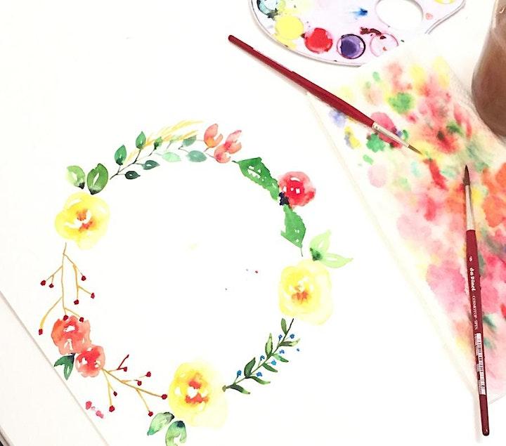 Florales Aquarellmalen - mit Pinselschrift: Bild