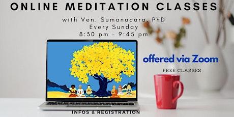 Sunday Online Mindfulness Meditation Workshop on Zoom tickets
