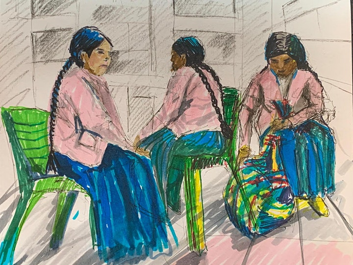 Drawing session fundraising for Bolivian indigenous people image