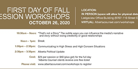 Alberta Counsel 3 Workshops for the price of 2 tickets
