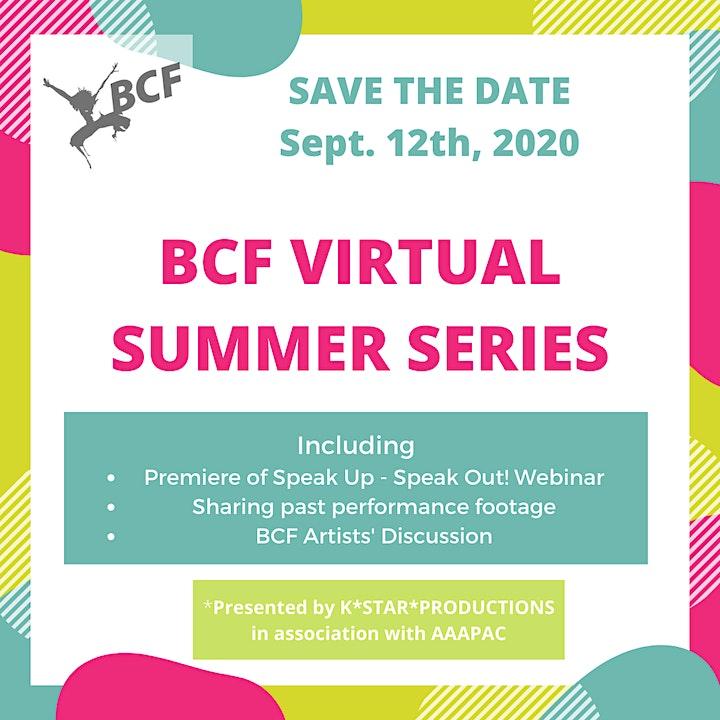 BCF Virtual Summer Series - Speak Up! Speak Out! image