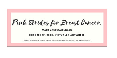 2020 Virtual Pink Strides Walk for Breast Cancer tickets