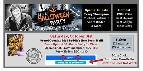Halloween Party With Rusty Bladen and Friends - EVENT HALL GRAND OPENING! tickets