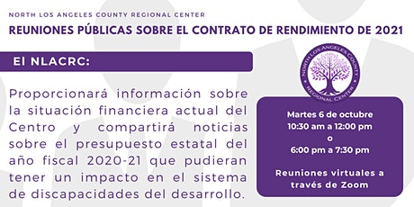 Reuniones Públicas sobre el Contrato de Rendimiento de 2021 tickets