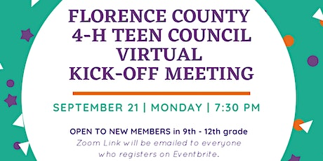 Florence County 4-H Teen Council Virtual Kick Off Meeting tickets