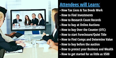 Tax Sale Investor 1-Day Online Workshop! Real Estate Tax Liens & Deeds tickets