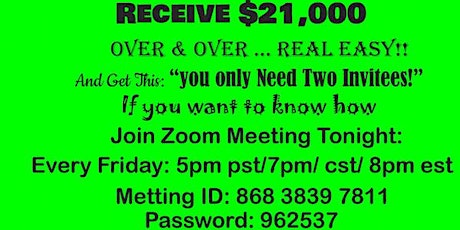 Learn how to create a re-occuring income with only a $100.00 investment!!! tickets