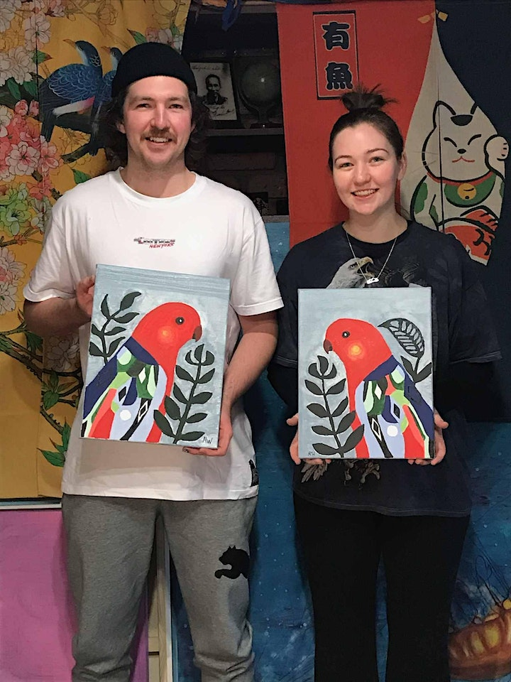 Acrylic Painting - COLOURFUL ABSTRACT BIRDS (Paint and Sip) image