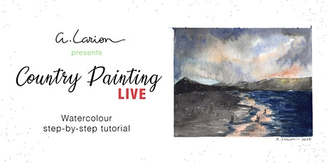 Country Painting LIVE - Watercolour Painting Tutorial - Beach at sunset tickets