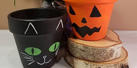 Halloween Double Trouble planter painting night tickets