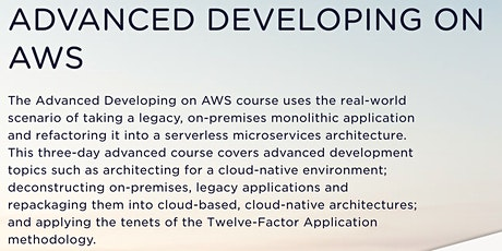 Advanced Developing on AWS (Virtual) tickets