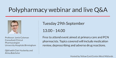 Polypharmacy webinar and live Q&A tickets