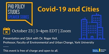 Covid -19 and Cities, featuring Dr. Roger Keil tickets