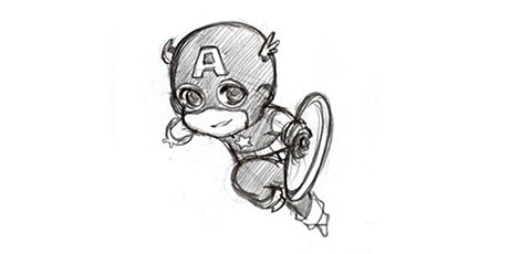 60min Superhero Sketching: Chibi Captain America (Ages 5+) tickets