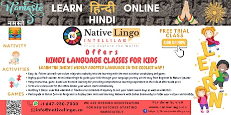 NativeLingo Offers |  FREE Online Hindi Language Trial Class for Kids billets