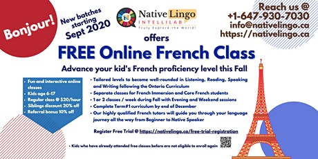 NativeLingo offers FREE Online French Trial Class for kids age 6-17 tickets