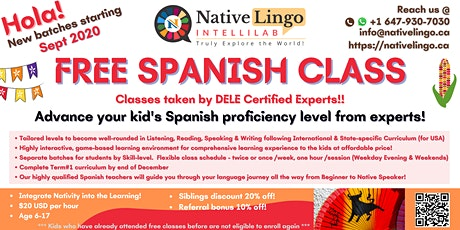 NativeLingo offers FREE Online Spanish Language Trial Class for kids 6-17 tickets