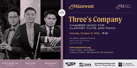 Wayne Weng, Paul Hung, Chris Lee -  An Evening of Chamber Music at Muzewest tickets