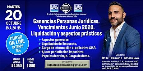 """""""Ganancias Personas Jurídicas. Vencimientos Junio 2020. entradas"""