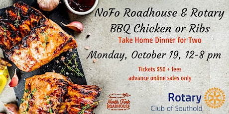 NoFo Roadhouse & Rotary BBQ Chicken or Ribs Take Home Dinner for Two tickets