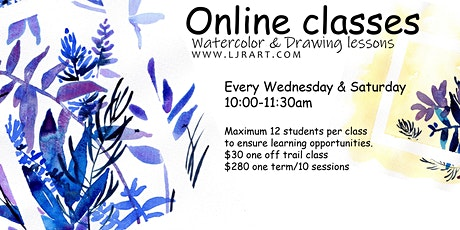 Watercolor & Drawing live Online classes tickets