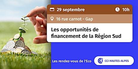 RDV de l'ECO : les opportunités de financement de la Région Sud billets