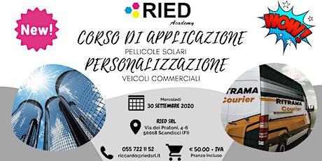 Corso Applicazione PELLICOLE SOLARI - Personalizzazione VEICOLI COMMERCIALI biglietti