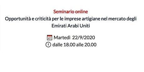 Imprese artigiane nel mercato degli Emirati Arabi Uniti biglietti