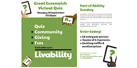 Great Greenwich Virtual Quiz + games, raffle, auction and stellar prizes! tickets