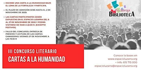 """Concurso literario """"Cartas a la Humanidad"""" entradas"""