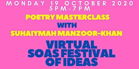 Poetry Masterclass with Suhaiymah Manzoor-Khan tickets