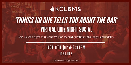 'Things No One Tells You About the Bar' - Virtual Quiz Night Social tickets