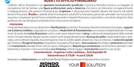 CORSO ADDETTO UFFICIO FINANZIARIO biglietti