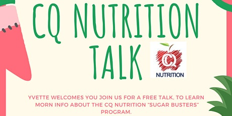 """CQ Nutrition """"Sugar Busters"""" chat. tickets"""