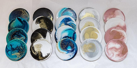 Make your own marbled coasters (paint pouring) tickets