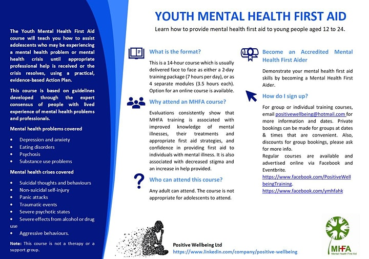 Youth Mental Health First Aid  (14 hrs training) 14th & 15th Nov 2020 image
