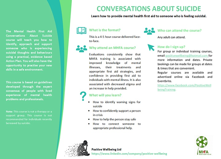 International courses, Intro to suicidal person &/or self injury (2 x 4hrs) image
