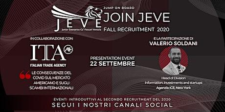Evento di Presentazione JEVE | Valerio Soldani | Agenzia ICE di New York biglietti