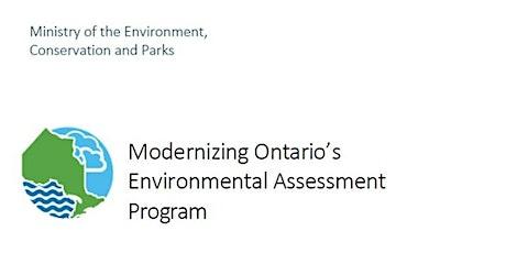 Modernizing Ontario's Environmental Assessment Program tickets