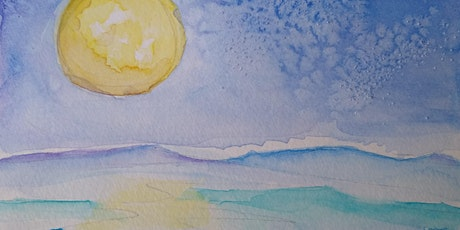 Watercolor for Relaxation: Full Moon + Ocean Watercolor Paintings tickets