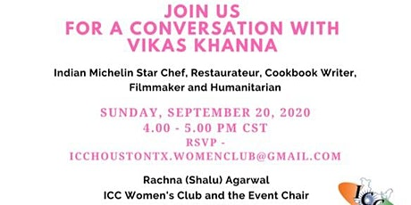 Conversation with Michelin Chef Vikas Khanna on September 20 at 4.00 PM tickets