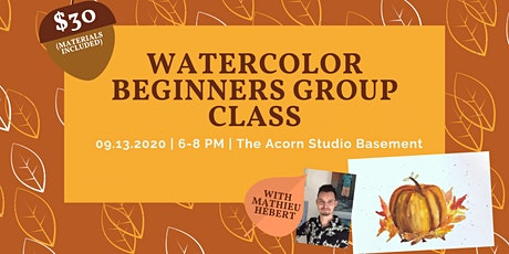 Watercolor Beginners Group Class - Pumpkin & Autumn Leaves tickets