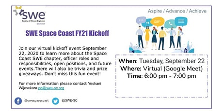 SWE Space Coast FY21 Kickoff Meeting tickets